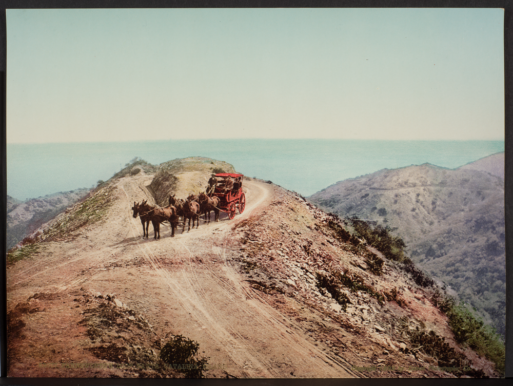 William Henry Jackson (American, 1843-1942), Farnsworth Loop, Santa Catalina Island, ca. 1890, printed for the Detroit Photographic Company 1899 or later, photocrom, 7 x 9 in. Gift of Rita and David Gottlieb, 2013 (copy photo: R. J. Phil)