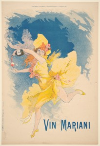 Jules Chéret (French, 1836 - 1932). Vin Mariani, 1894. Color lithograph printed in five colors on wove paper. Sheet: 640 mm x 390 mm (25.2 in. x 15.35 in.). Purchase funds, 1966. DAC accession no. 1966.2.1. Open Access Image from the Davison Art Center, Wesleyan University. http://www.wesleyan.edu/dac/openaccess (photo: M. Johnston).